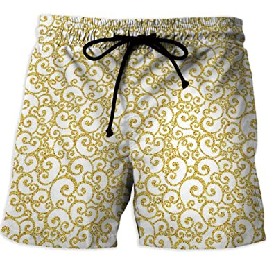 16d347a919 Men's Swim Trunks, Grey and Yellow, Men's Board Short Swimwear, Zig ...