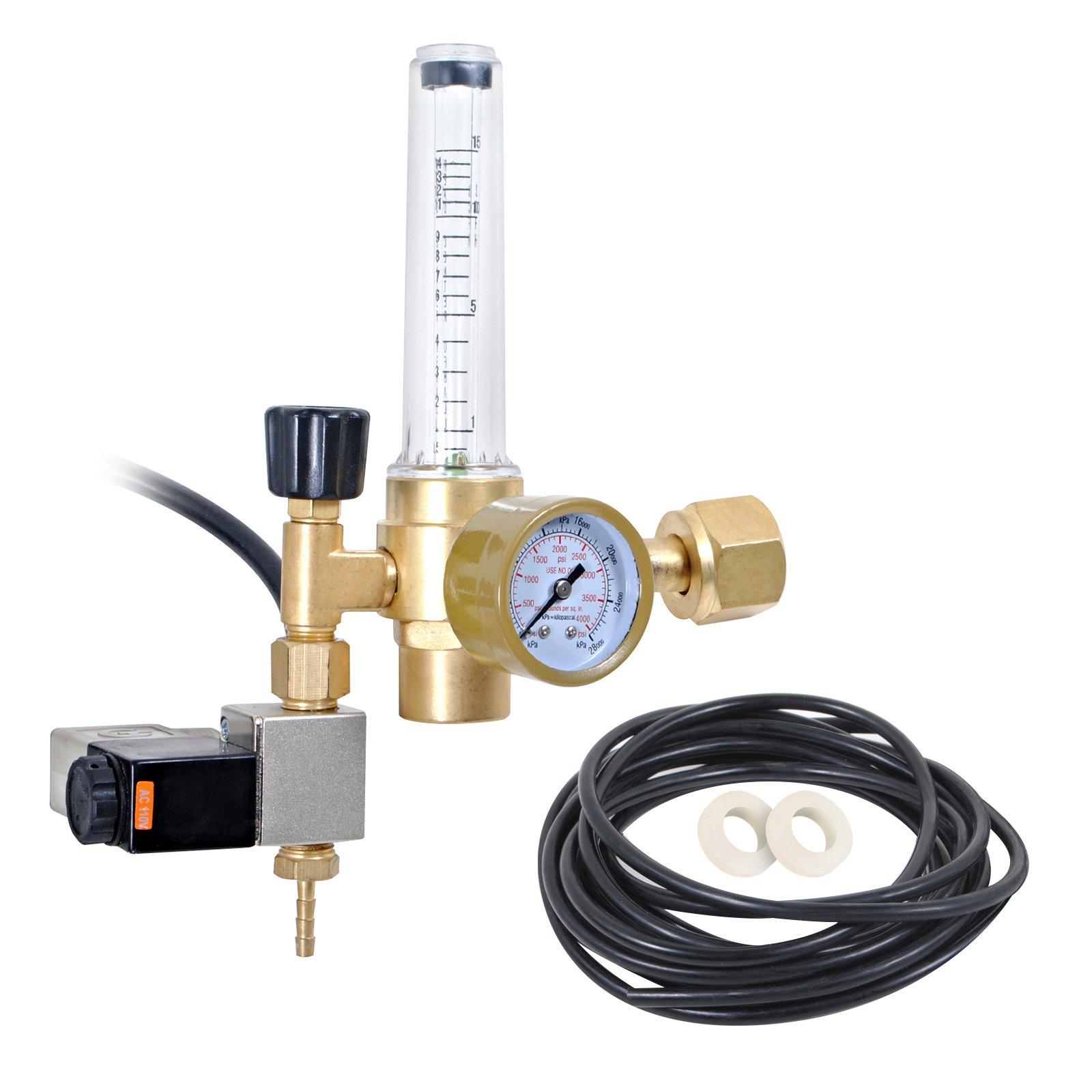 CO2 Regulator with Solenoid Valve and Flow-Meter Emitter. C02 Emitter for Indoor Gardening, Aquariums and Hydroponics