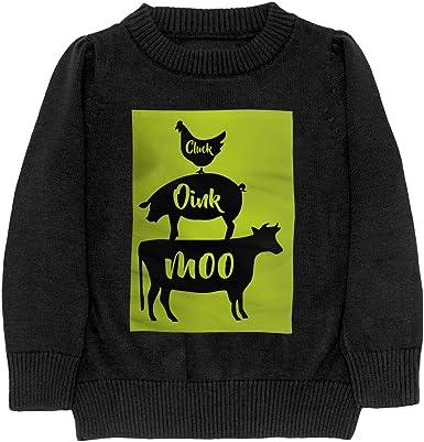 Farm Anilmals Silhouette Chicken Pig Cow Style Adolescent Boys Girls Unisex Sweater Keep Warm