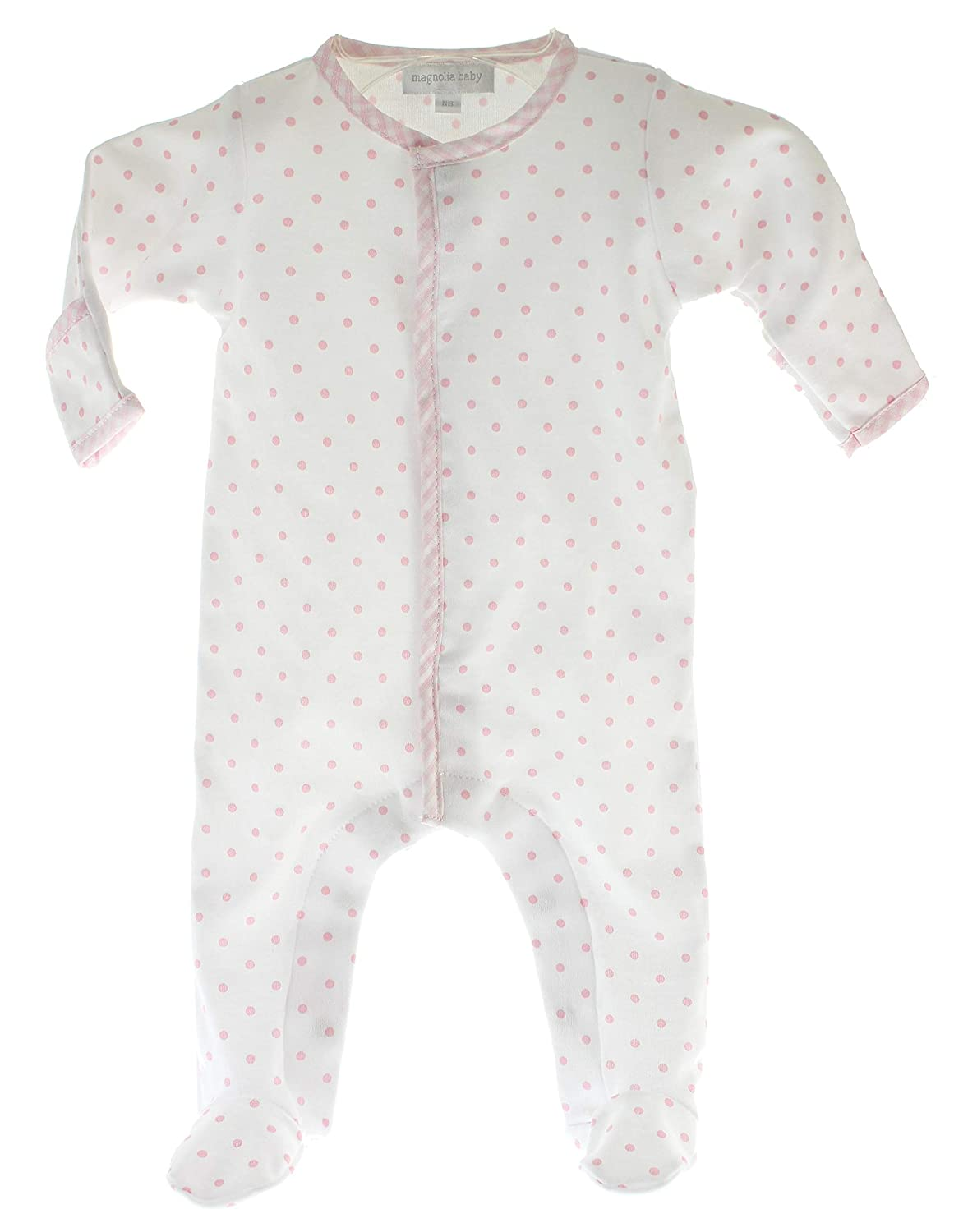 Baby Girls Take Home Sleeper Footed Cotton Onesie White Pink Dots
