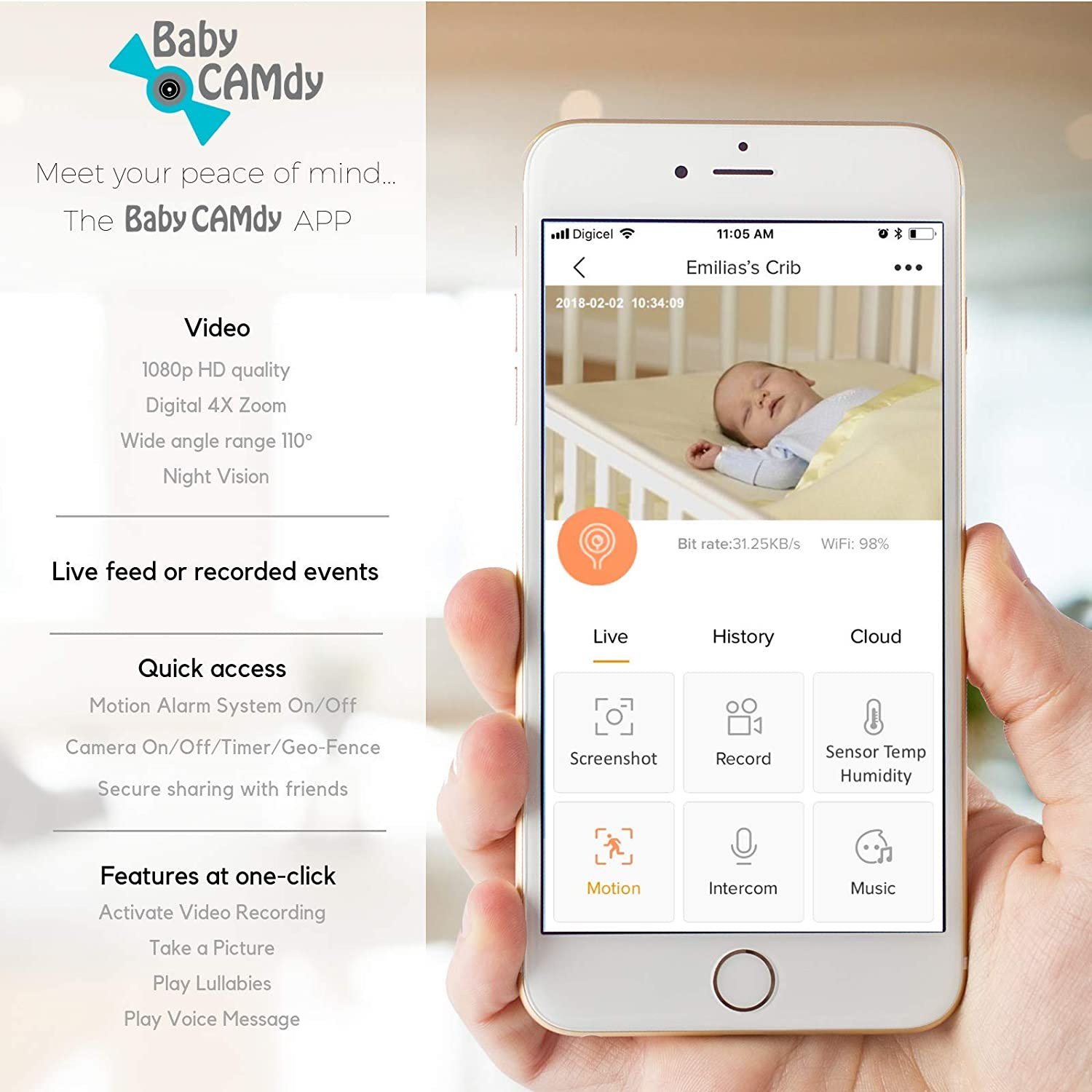 Baby CAMdy Sugar CAMdy Babyphone WiFi Cam/éra HD 1080p⎮Smart APP iOS//Android