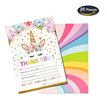 Amazon Amztm Magical Unicorn Thank You Cards Notes For Kids