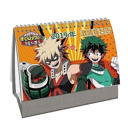 Amazon.com : Bowinr Anime Desk Calendar 2019, My Hero ...