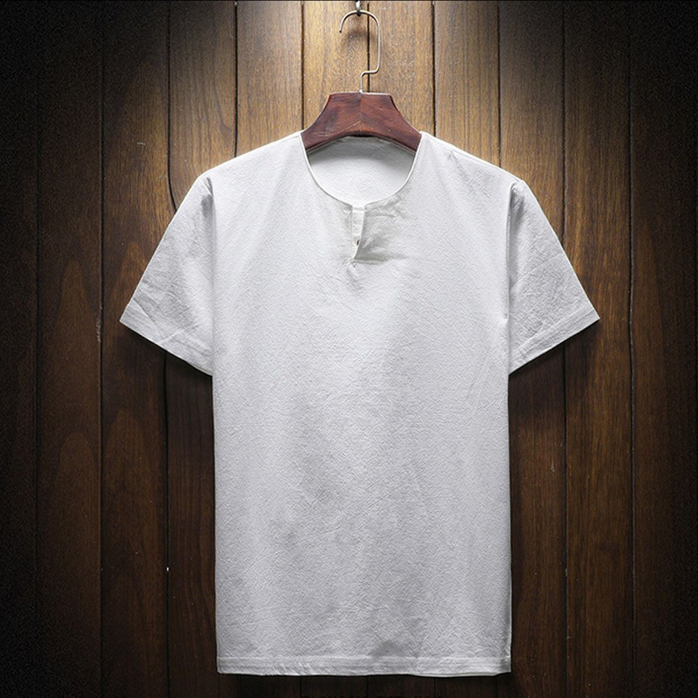 ZEFOTIM Summer Men Short Sleeve Comfy Linen Soft Solid Blouse T-Shirt Top