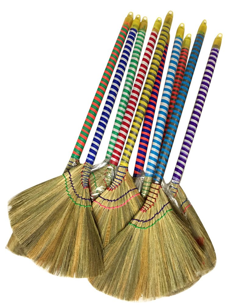 """Caravelle Choi Bong Co Vietnam Hand Made Straw Soft Broom with Colored Handle 12"""" Head Width, 40"""" Overall Length -1pc"""