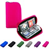 Litop Memory Card Carrying Case Holder Pouch Bag 8 Pages and 22 Slots for SDHC SD Cards MMC CF Micro SD Storage Protector (Hot Pink)