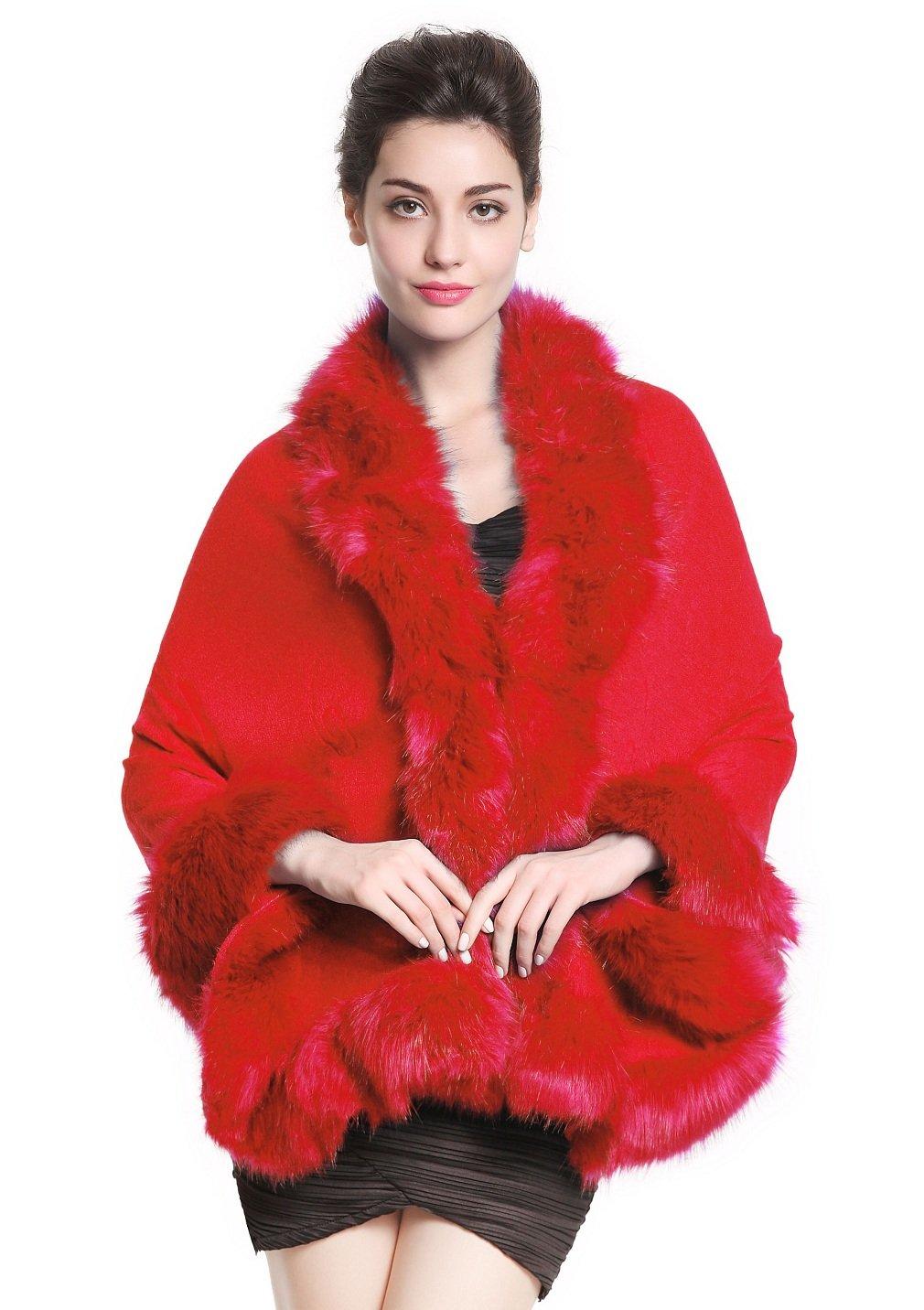 Faux Fur Shawl Wrap Stole Shrug Bridal Winter Wedding with Hook Red
