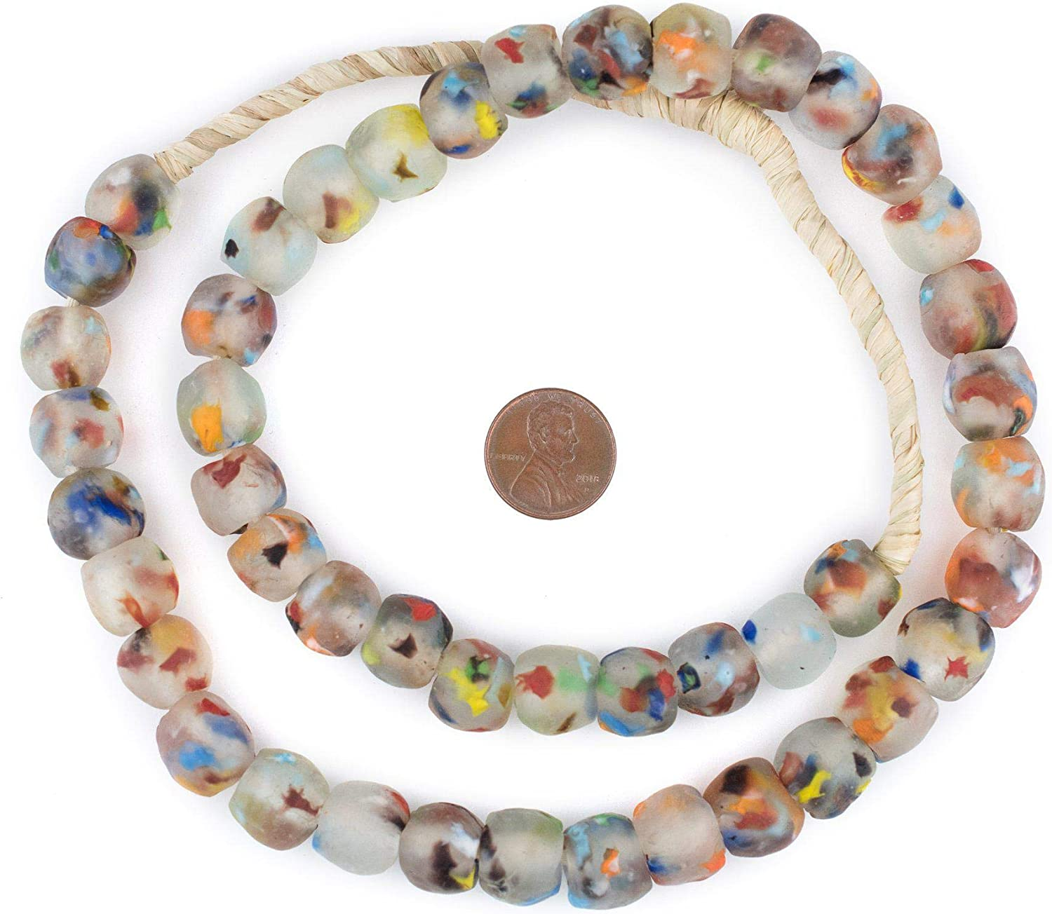 Old Ghana Medley Trade Beads 8mm African Multicolor Mixed Glass 32 Inch Strand