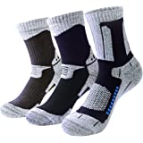 3 Pairs Pro Athletic Hiking Socks for Men - Breathable Cushioned Crew Socks for Outdoor Running Skiing Fitness Sports
