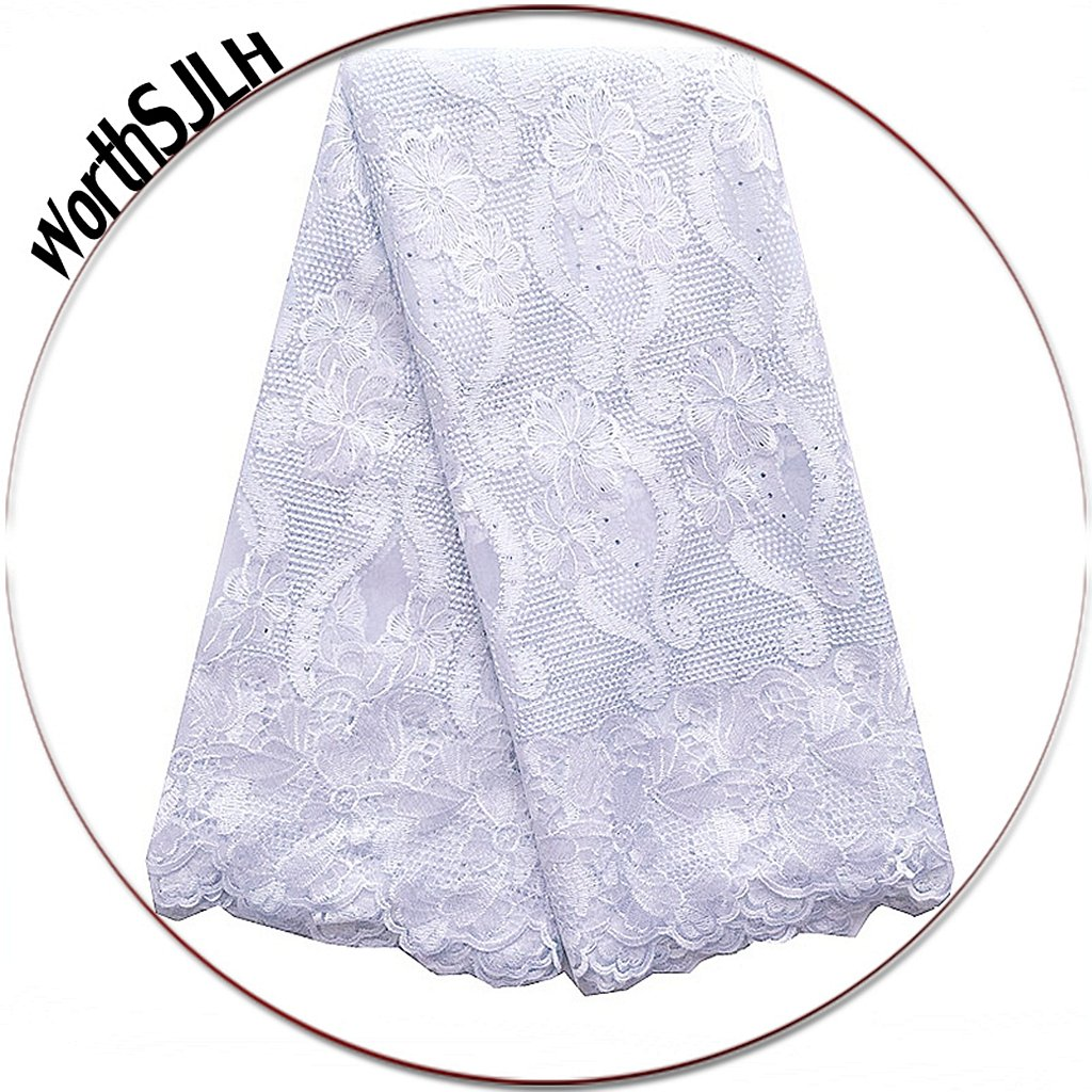WorthSJLH French African Lace Fabrics 5 Yards 2019 New White Swiss Lace Fabric Nigerian Lace Fabrics LF854 (White)