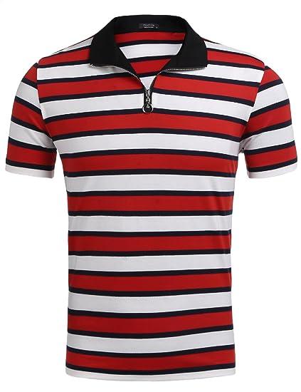 701835e90cf Zuckerfan Men's Short Sleeve Polo Striped Zip-up Collar Cotton Casual T-Shirt  Polo