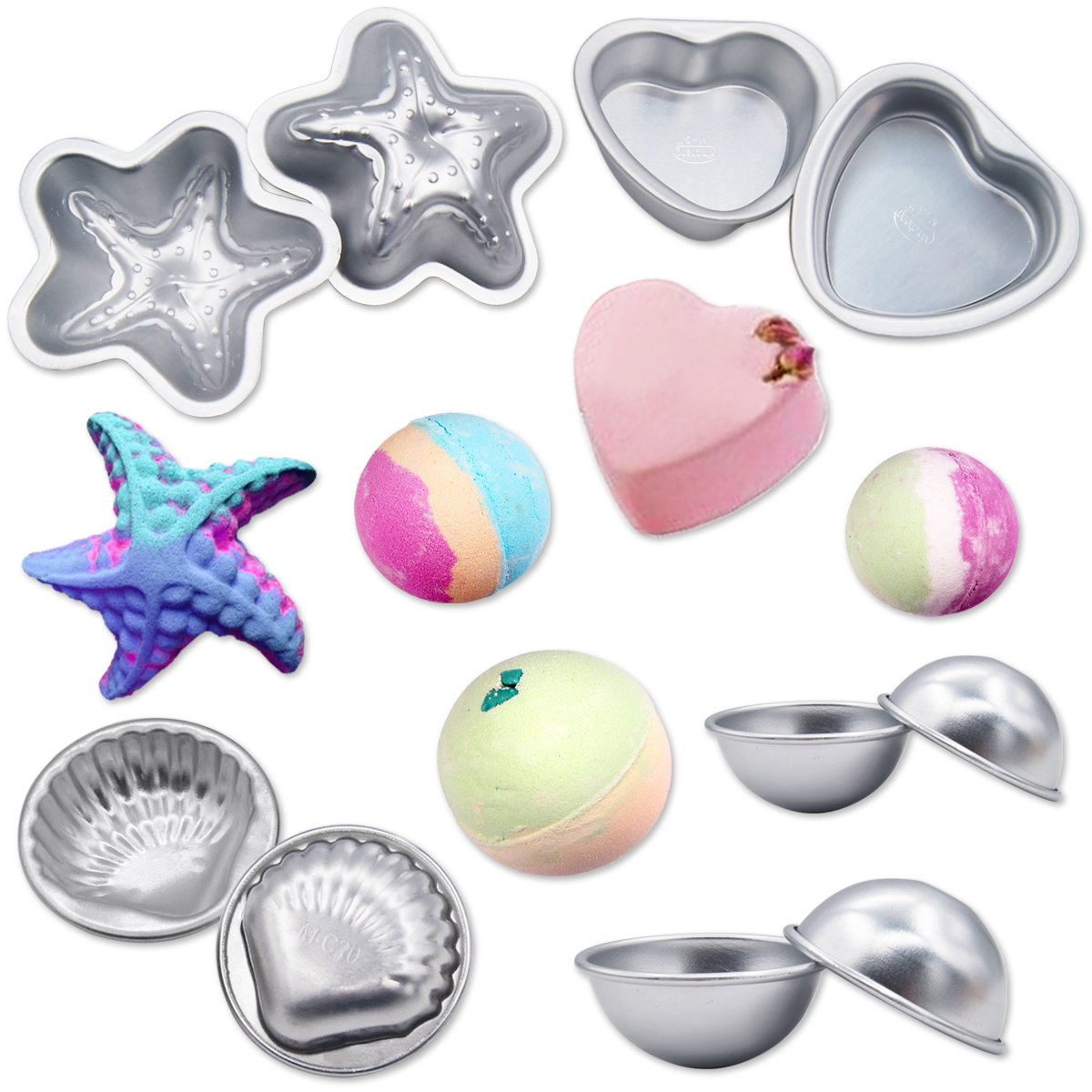 MelonBoat Metal Bath Bomb Molds Fizzies Set of 5, 2 Shell Shape, 4 Hemispheres (2-3/8'', 2''), 2 Heart Shape, 2 Starfish Shape, Cake Pan Molds, Aluminum