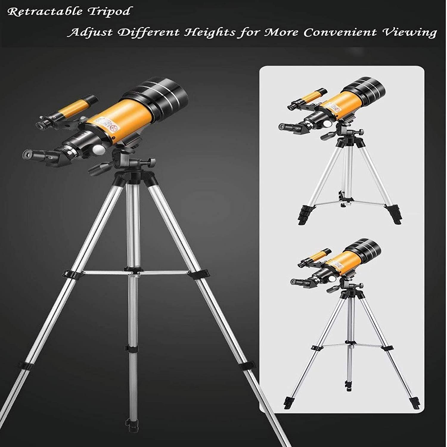 70mm Aperture 300mm Focal Length Telescope for Adults Carry Bag Kids BydZiMu Telescope for Astronomy Beginners with Adjustable 51 Inch Tripod Include Phone Adapter