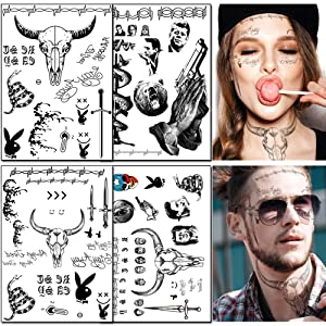 4 Sheets Temporary Face Tattoos Stickers Halloween Face Tattoo Kit Festival Body Art Makeup Temporary Tattoos for Women Men Kids Halloween Costume Accessories Party Decorations