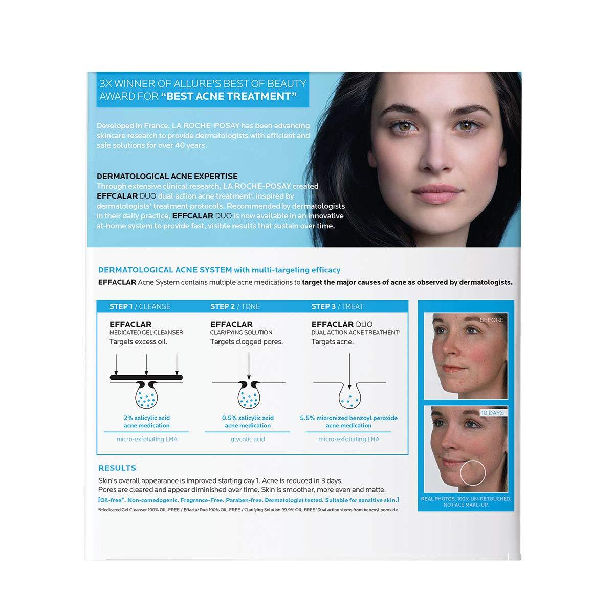 Amazon Com La Roche Posay Effaclar Tratamiento Dermatologico Del Acne En 3 Pasos Con Limpiador En Gel Medicado Solucion Clarificante Y Duo Effaclar Suministro De 2 Meses Premium Beauty