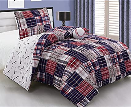 3 Piece Baseball Sports Theme Plaid Red White And Blue Comforter Set Twin Size Bedding