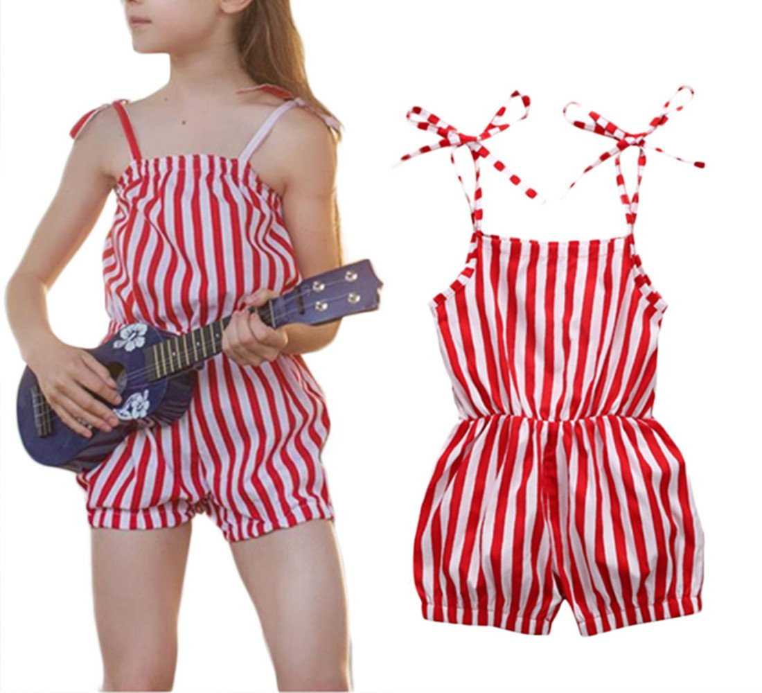 Kids Girls Sleeveless Striped Red Romper Jumpsuit Cotton One-Pieces Clothes 2-7Y size 2-3T (Red)