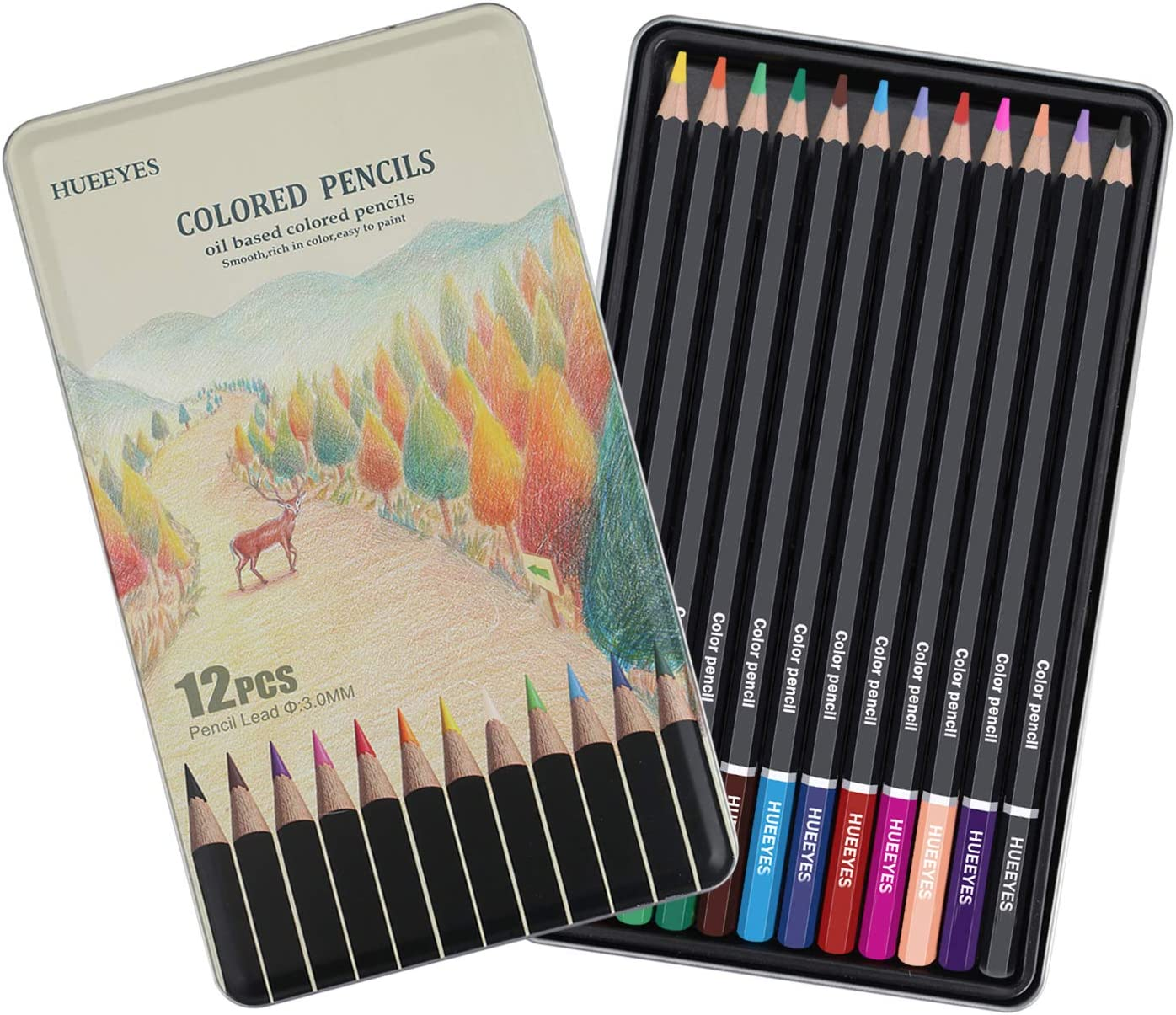 12 oil based Colored Pencils with Vibrant Color Professional Art School Supplies for Kids & Adults Coloring Books, Perfect Holiday Gifts for Artist Drawing HUEEYES