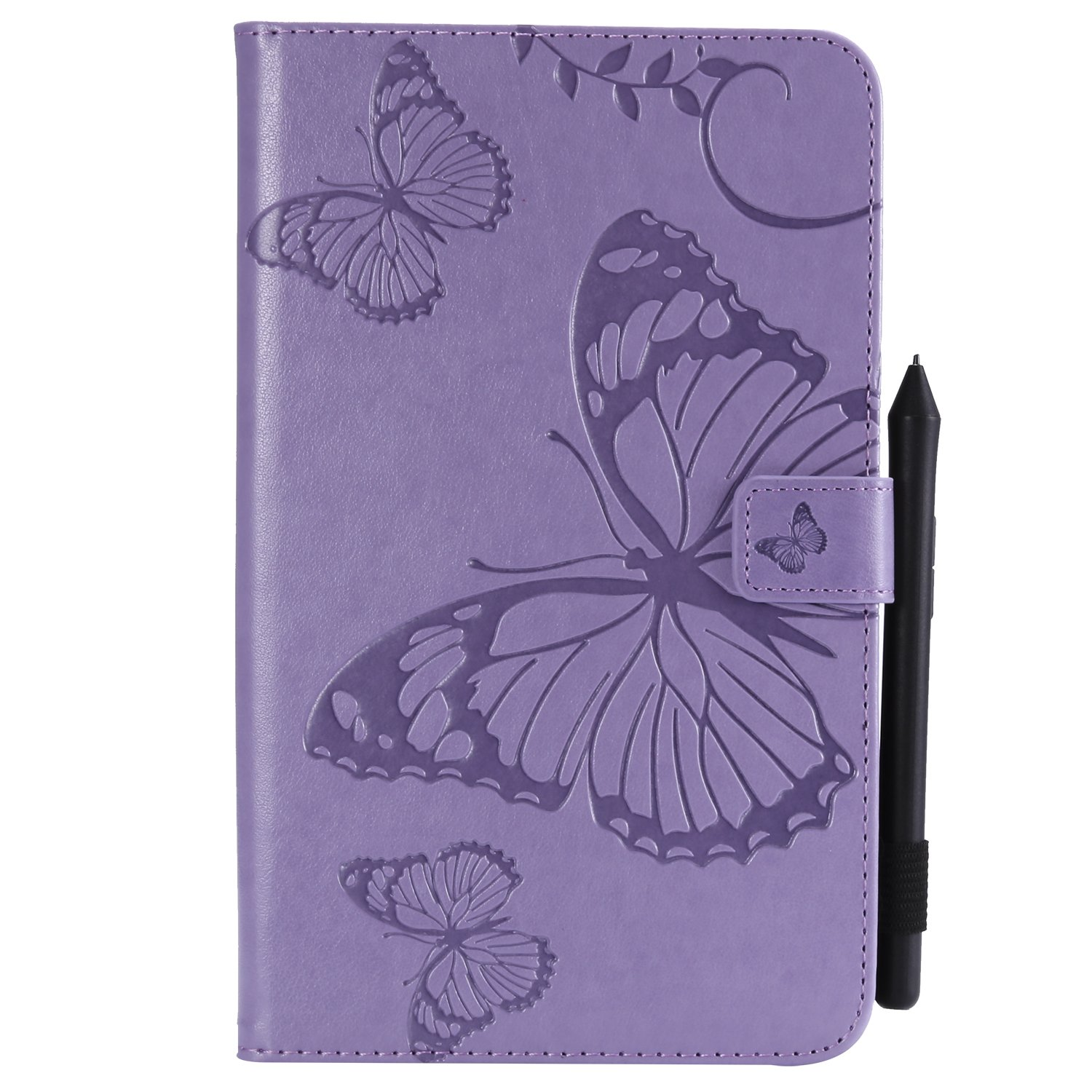 Bear Village Galaxy Tab a 2017 8.0 Inch Case, Butterfly Embossed Anti Scratch Shell with Adjust Stand, Smart Stand PU Leather Case for Samsung Galaxy Tab a 2017 8.0 Inch, Purple by Bear Village