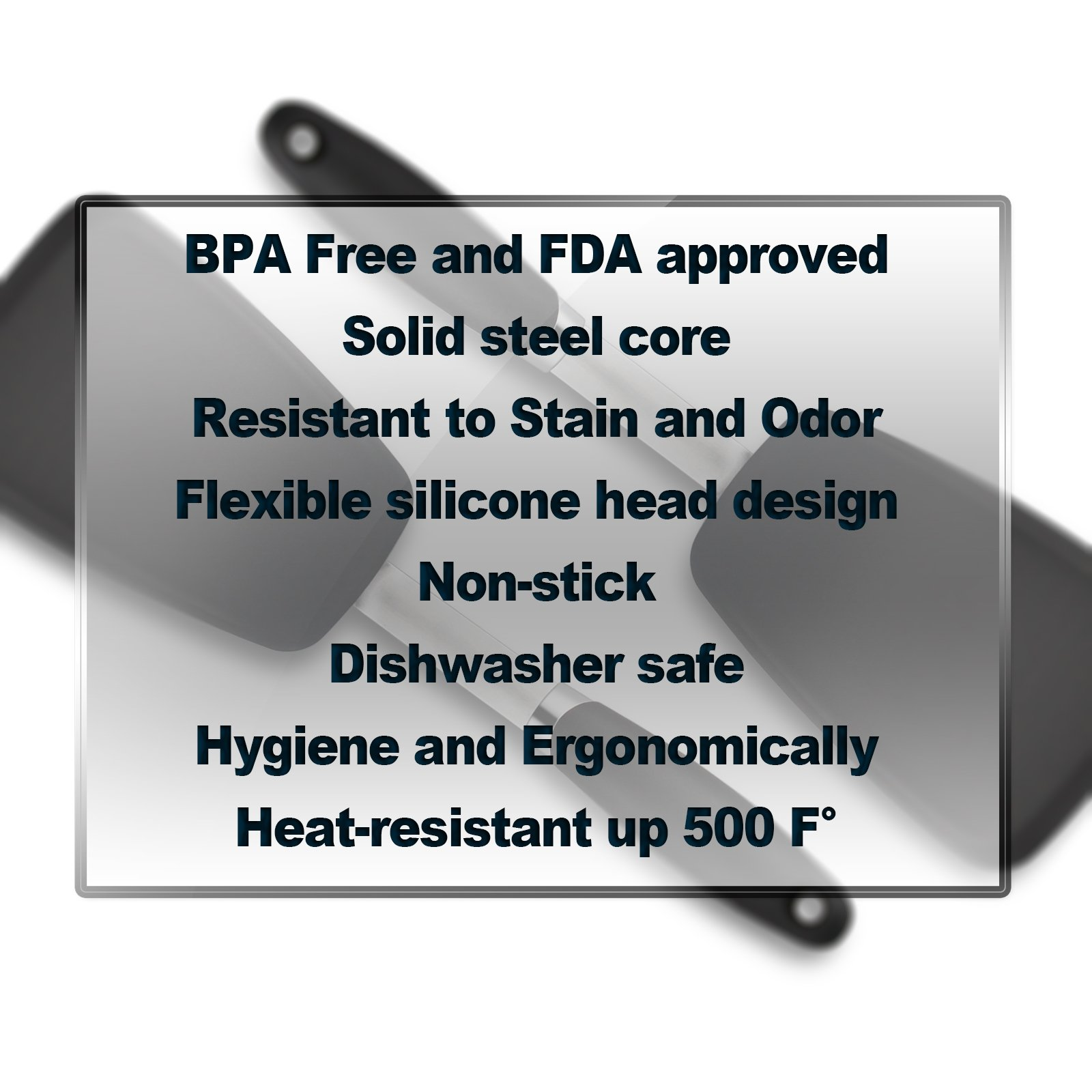 Hygienic Solid Heat-Resistant Flexible Silicone Spatula, Black Non-stick Silicone Turner by ALLWIN-HOUSEWARE W (Image #7)