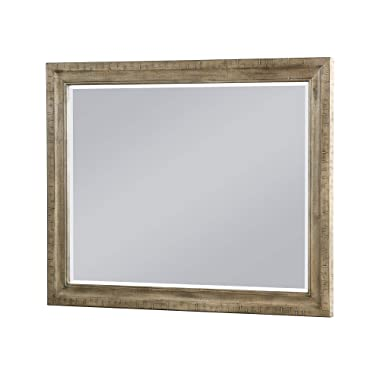 Kylee Mirror in Golden Pine with Distressed, Rustic Wood Frame And Beveled Glass, by Artum Hill