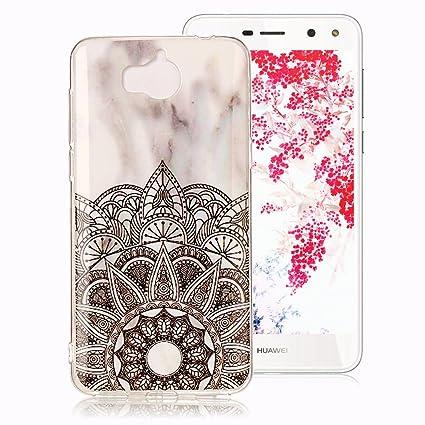 Funda Mármol para Huawei Y6 2017, Huawei Y5 2017 Case, Ronger Carcasa Gel TPU Silicona Marble Case Cover Ultra Flexible con Patrón de Piedra, Flor ...