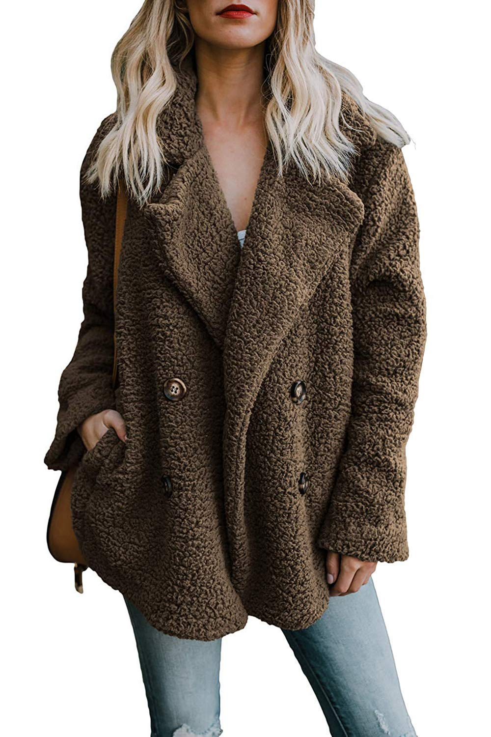 ZESICA Women's Casual Oversized Coat Long Sleeve Fuzzy Fleece Button Down Pullover Outwear with Pockets