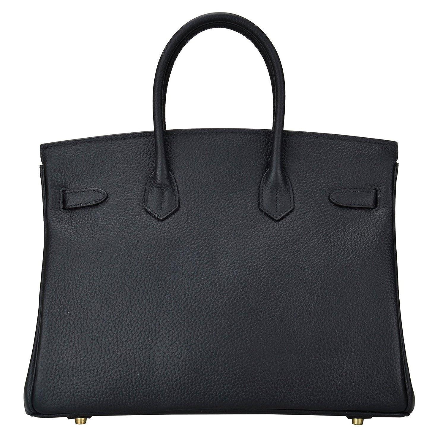 Ainifeel Women s Genuine Leather Padlock Handbags With Gold Hardware ... 12d6a100b6f