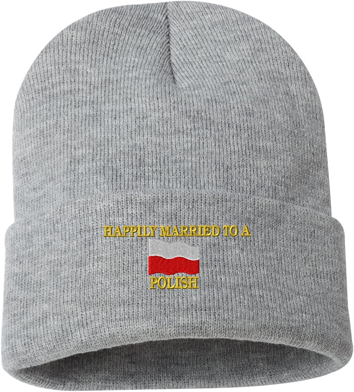 HAPPILY MARRIED TO A POLISH Custom Personalized Embroidery Embroidered Beanie