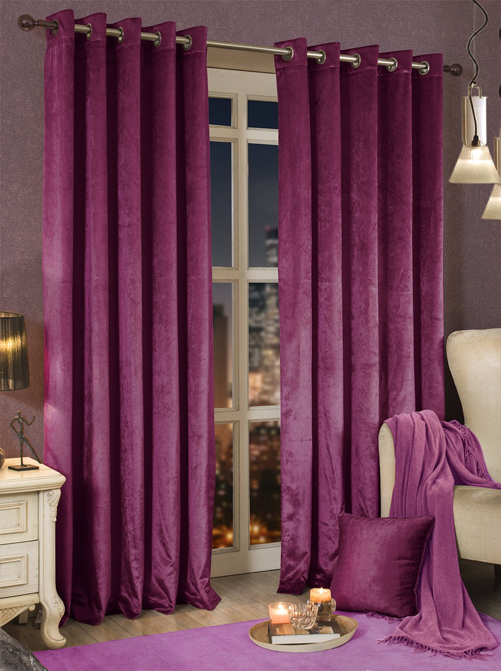 Luxury Shiny Velvet Lined Pairs//Door Eyelet Curtains 5 Colours Available