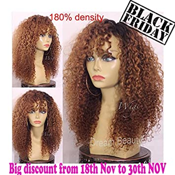 Human Hair Wigs 180% Density Ombre Kinky