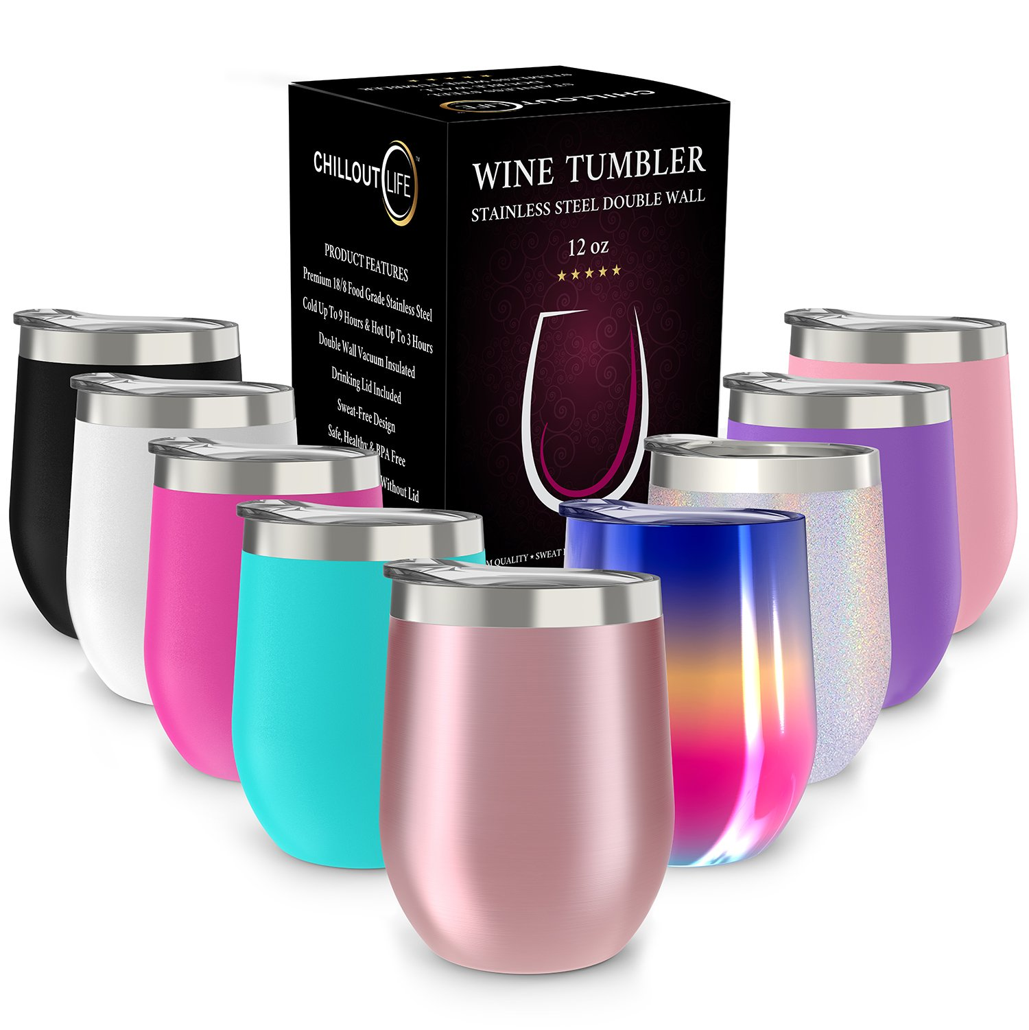 CHILLOUT LIFE Stainless Steel Stemless Wine Glass Tumbler with Lid, 12 oz   Double Wall Vacuum Insulated Travel Tumbler Cup for Coffee, Wine, Cocktails, Ice Cream - Rose Gold Wine Tumbler