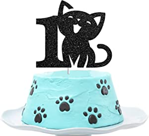 Cat One Cake Topper, Happy 1st Birthday Cake Decor, I'm One Sign, Kitty Birthday Party Decoration Supplies, Meow Sign, Pet Themed - Black Glitter