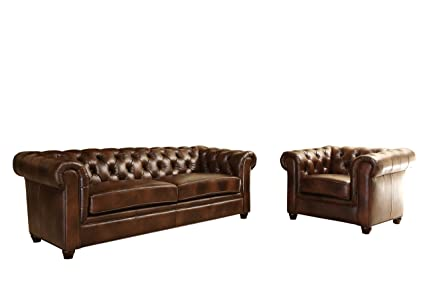 Abbyson Tuscan Leather Sofa Armchair Set, Brown