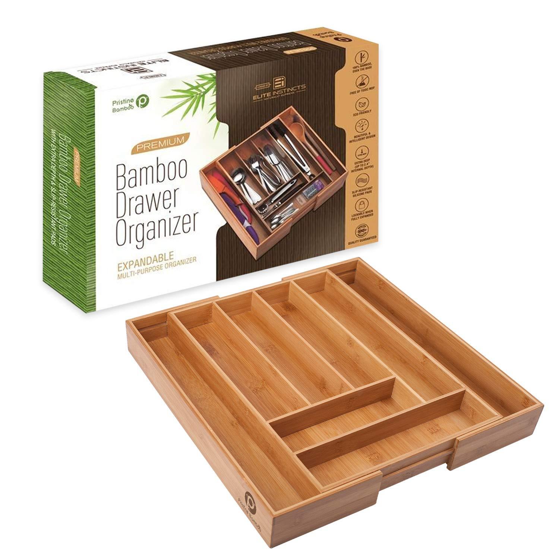 ✔ Premium, Extra Deep, Non-slip, Large Silverware Organizer| Expandable Bamboo Utensil Drawer Organizer| Wooden Flatware Holder, Cutlery Tray| Adjustable Kitchen Drawer Divider by PRISTINE BAMBOO