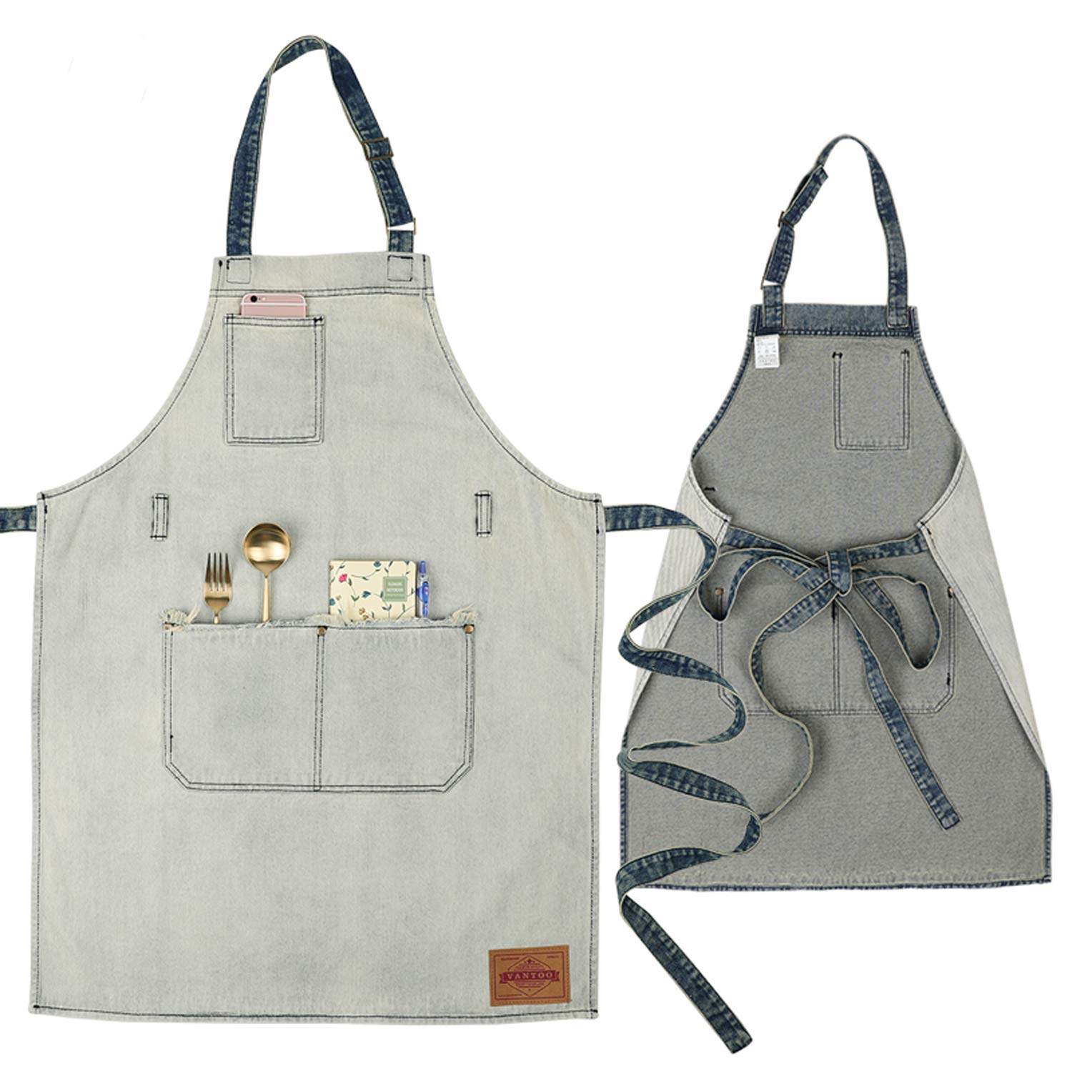 VANTOO Denim Artist Apron with 3 Pockets-Jean Painting Salon Apron-Adjustable Neck Strap-Extra Long Ties for Friends Families,White