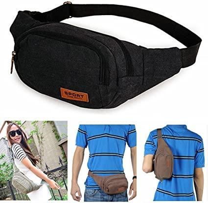 Pack Waist Bag For Travel Casual Canvas Nylon For Men Sling With Zipper Pockets