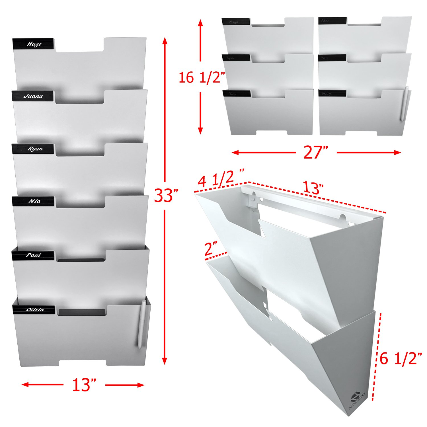 Files Sturdy and Wide for Letters White Wall Mount Hanging File Holder Organizer 6 Pack Durable Steel Rack Solid Magazines and More Organize The Desktop Declutter Your Office Nozzco