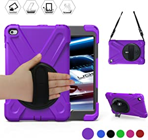 BRAECN iPad Mini5 Shockproof Case Three Layer Drop Protection Rugged Protective Heavy Duty iPad Mini4 Case with 360 Degree Swivel Stand/Hand Strap and Shoulder Strap for iPad Mini 5/4 Case (Purple)