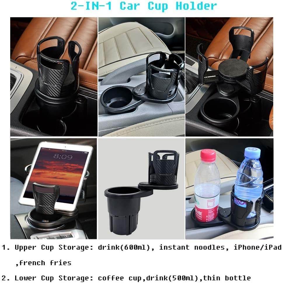 2in1 Cup Holder Adapter Hold Most 17-20 oz Coffee Drinks Bottles Phone//Tablet Mount Buffer Sponge Pads Car Cup Holder Expander Adapter with 360/¡/ãAdjustable Base