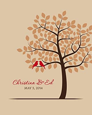 Gift for Bride and Groom, Unique Engagement, Autumn Fall Wedding, One Year Anniversary - Art Print