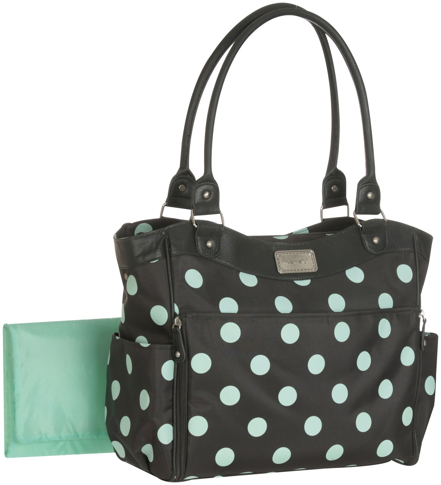 Carter's Allover Dot Diaper Tote - Grey/Turquoise