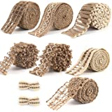 VGOODALL 7 Pack Jute Ribbons,Lace Craft Ribbon Burlap 14 Meters for Crafts Wraping Gifts Party Holiday and Rustic…