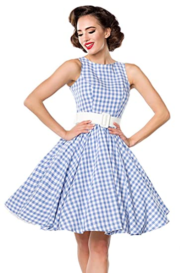 05bd2d0556f6 Belsira Checked Dress Short Dress Light Blue-White  Amazon.co.uk  Clothing