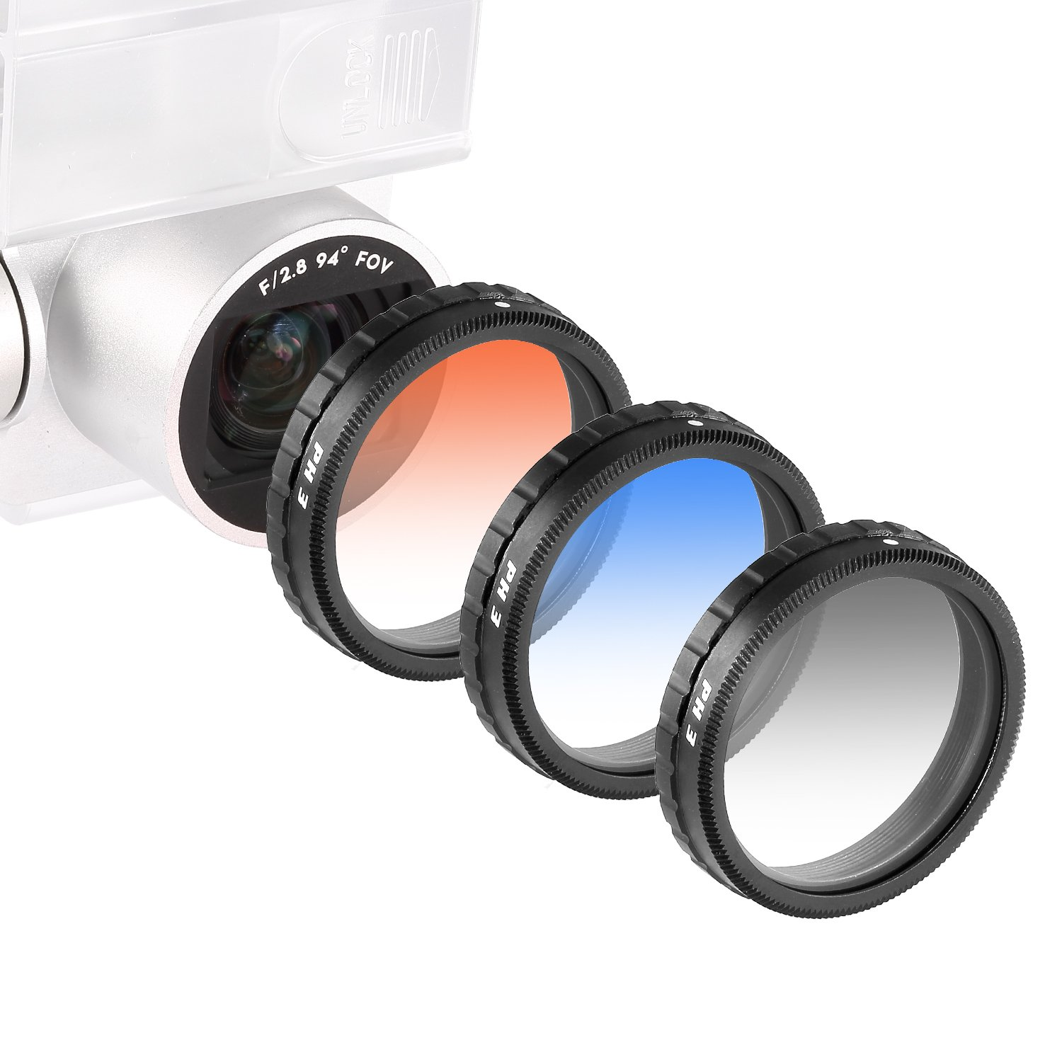 Neewer® for DJI Phantom 4, DJI Phantom 3 Professional and Advanced, Graduated Lens Filter Set 3 Pieces: Graduated Grey Filter, Orange Filter and Blue Filter Not for DJI Phantom 3 Standard