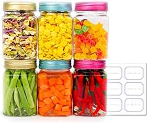 Clear Empty Plastic Storage Containers with Lids – BPA Free Square Jar – Food Grade Pantry Canisters (6 Pack 12 Oz)