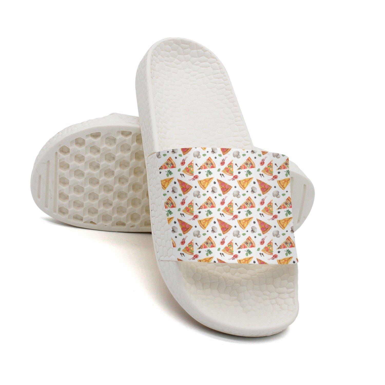 Ether Dobbin Unisex Pizza Design Anti-Slip Slippers Athletic Slide Sandals
