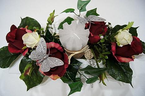 Tischdeko Hochzeit Ehrenplatz Deko Rosen Taufe Kommunion
