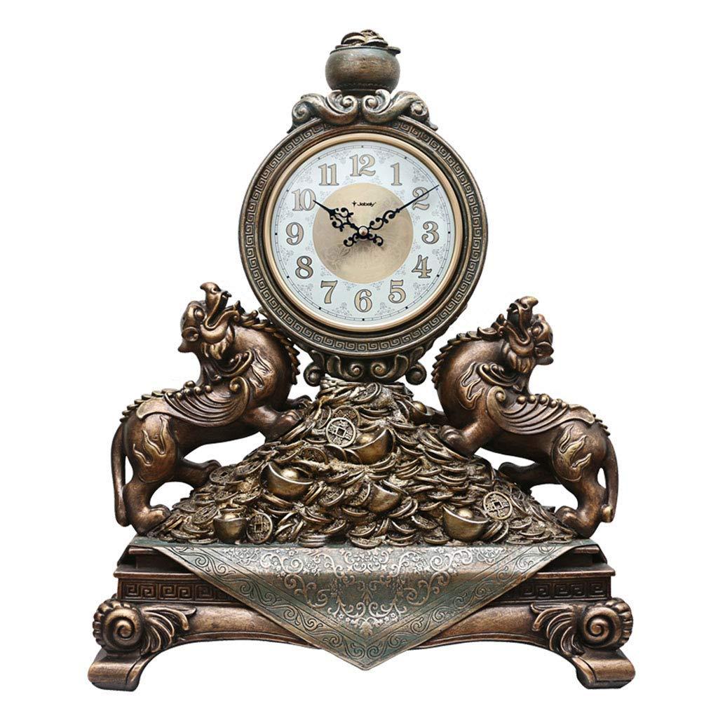 机の時計家族の時計樹脂と置時計のミュート、装飾的なリビングルームの寝室の研究室の棚のクロックリビングルームの寝室のオフィスに適して B07THV7XGX