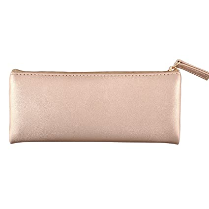 e299f99a9d55 Image Unavailable. Image not available for. Color  XYBAGS PU Leather Small  Pencil Case Pen Bag with Zipper
